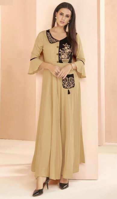 Beige Color Embroidered Rayon Long Tunic