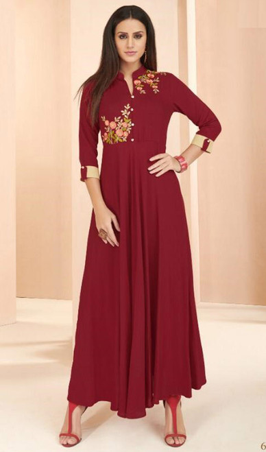 Maroon and Cream Color Shaded Rayon Long Tunic