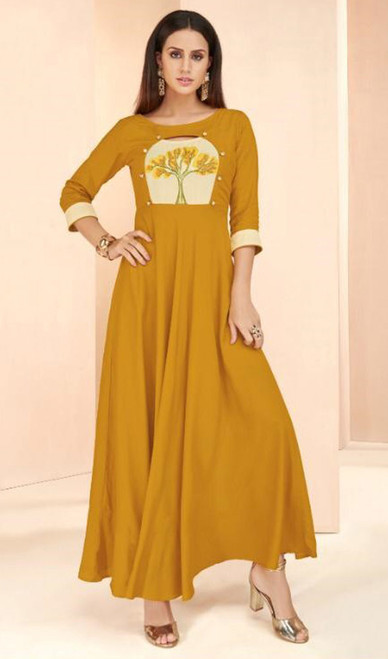 Mustard Color Shaded Rayon Long Tunic