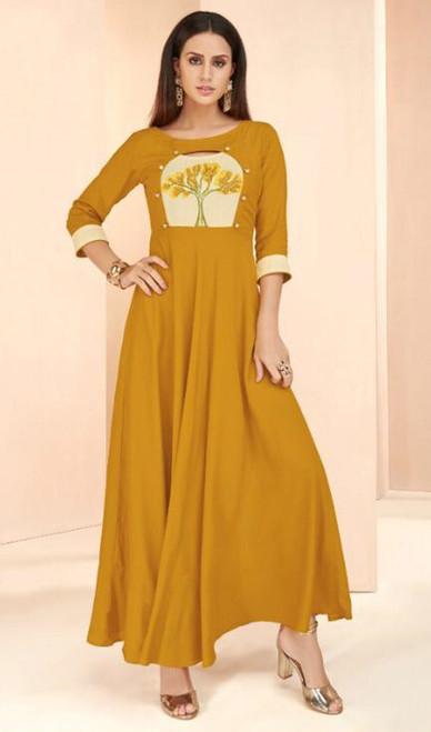 Mustard Color Shaded Rayon Long Tunic
