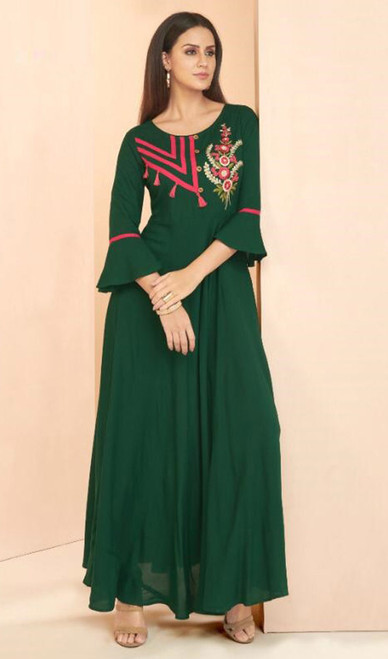 Embroidered Green Color Rayon Tunic