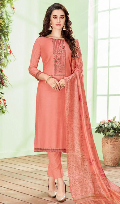 Peach Color Shaded Cotton Silk Pant Style Suit