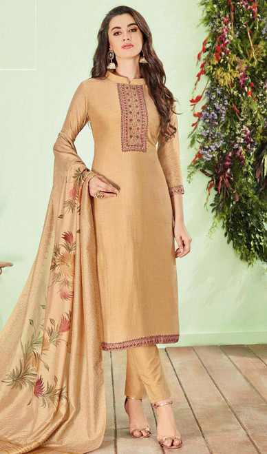 Cotton Silk Beige Color Shaded Pant Style Suit