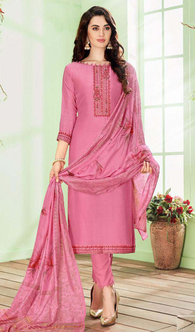 Pink Color Shaded Cotton Silk Pant Style Suit