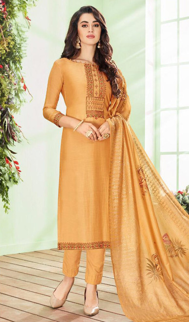 Yellow Color Shaded Cotton Silk Pant Style Dress