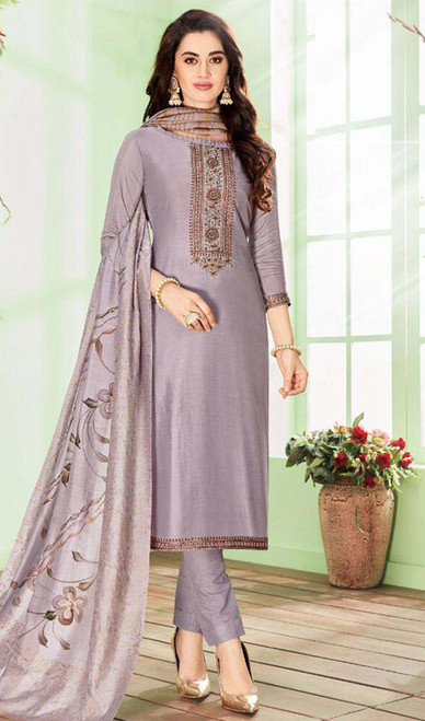 Purple Color Shaded Cotton Silk Pant Style Suit