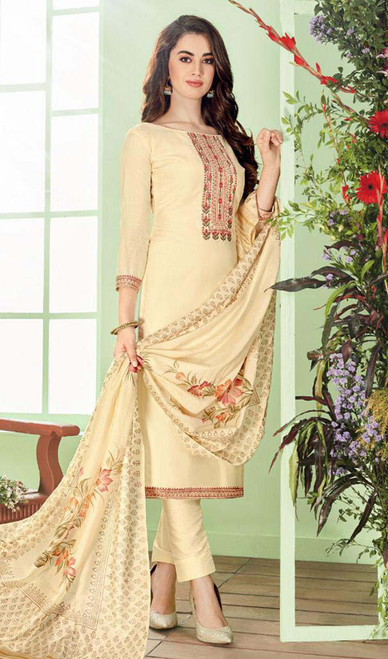 Cream Color Shaded Cotton Silk Pant Style Dress