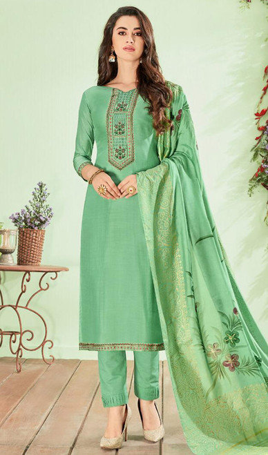 Green Color Shaded Cotton Silk Pant Style Suit