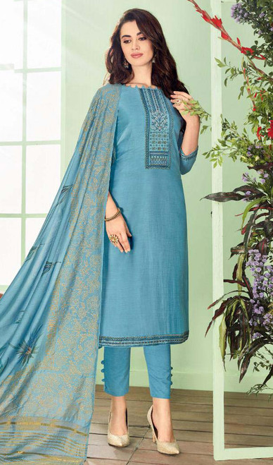 Sky Blue Color Shaded Cotton Silk Pant Style Suit