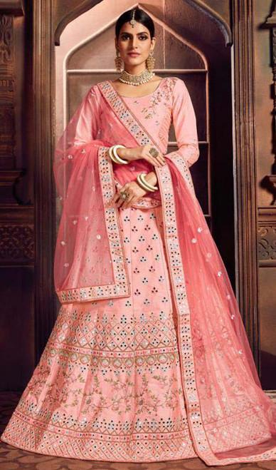 Embroidered Pink Color Silk Lehenga Choli