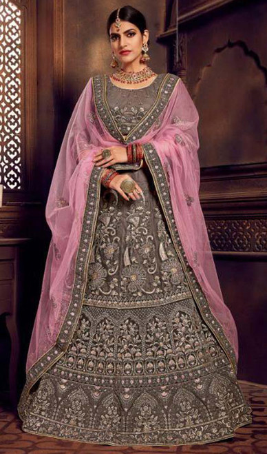 Gray Color Silk Embroidered Choli Skirt