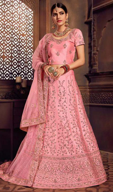 Pink Color Embroidered Silk Lahenga Choli