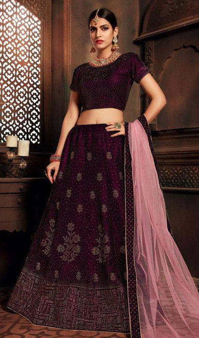 Wine Color Silk Embroidered Lehenga Cholie
