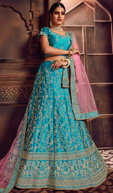 Turquoise Color Shaded Silk Cholie Skirt