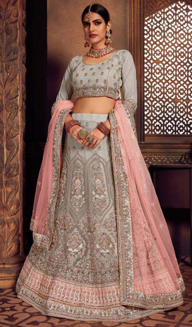 Gray Color Embroidered Silk Lahenga Cholie