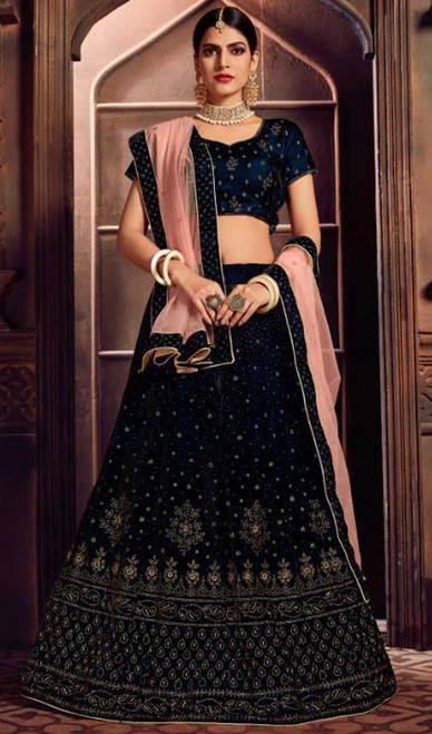 Lahenga Choli in Navy Blue Color Shaded Silk