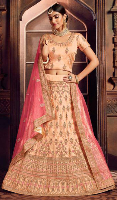 Lehenga Choli in Peach Color Embroidered Silk