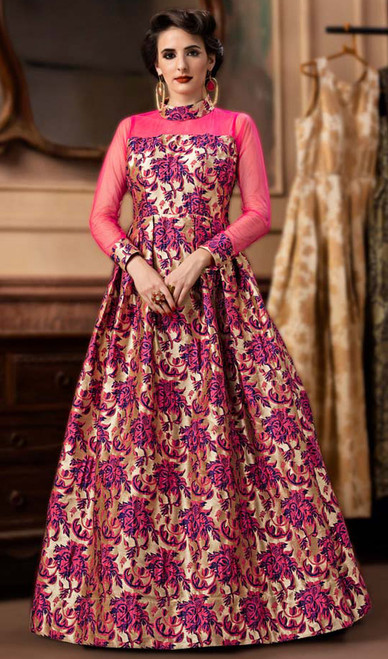 Pink Color Shaded Jacquard Gown