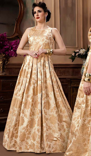 Cream Color Shaded Jacquard Gown