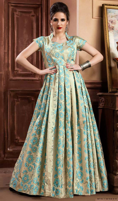 Sky Blue Color Shaded Jacquard Gown