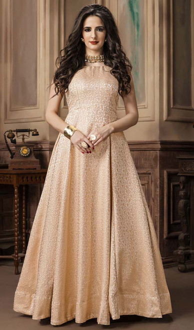 Beige Color Shaded Jacquard Gown