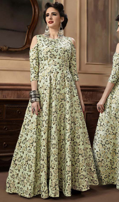 Green Color Shaded Jacquard Gown
