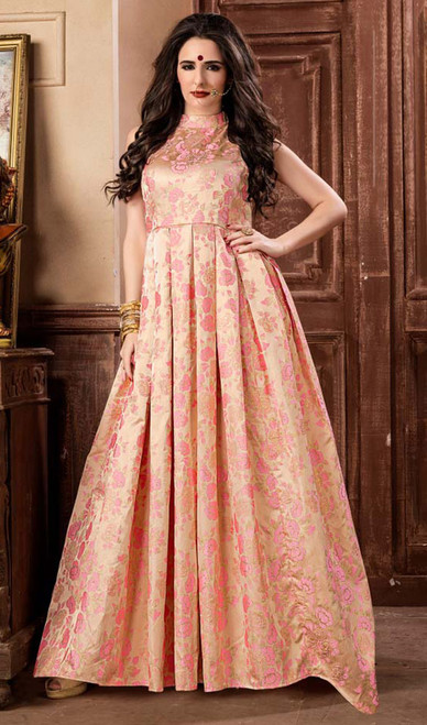 Evening Gown in Peach Color Shaded Jacquard