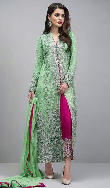 Embroidered Georgette Green Color Pant Style Suit