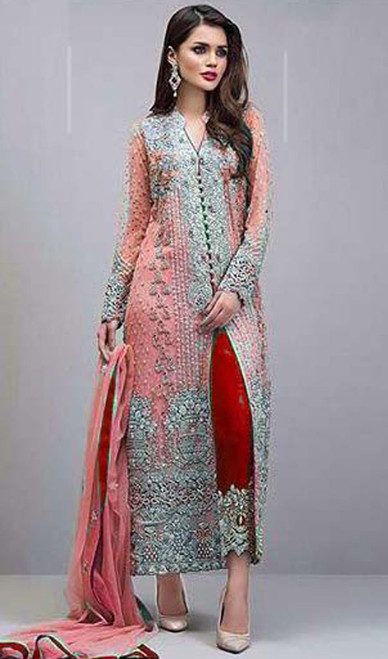 Georgette Pink Color Embroidered Pant Style Suit