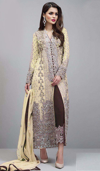 Light Yellow Color Shaded Georgette Pant Style Suit