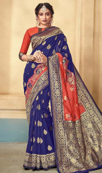 Navy Blue and Orange Color Silk Sari
