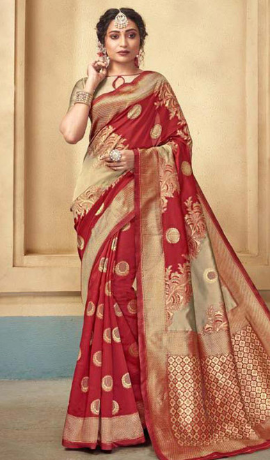Maroon Color Shaded Silk Sari