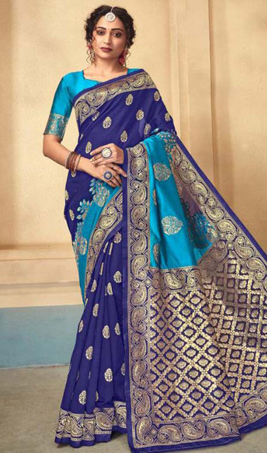 Royal Blue Color Shaded Silk Sari
