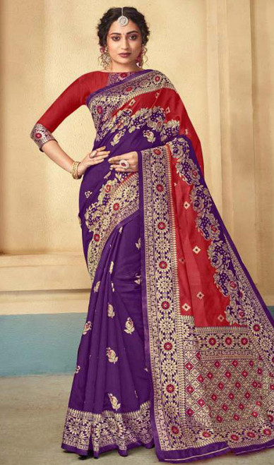 Violet and Red Color Shaded Silk Sari