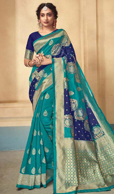 Silk Sari in Green and Blue Color Shaded
