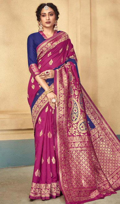 Silk Pink and Blue Color Shaded Sari