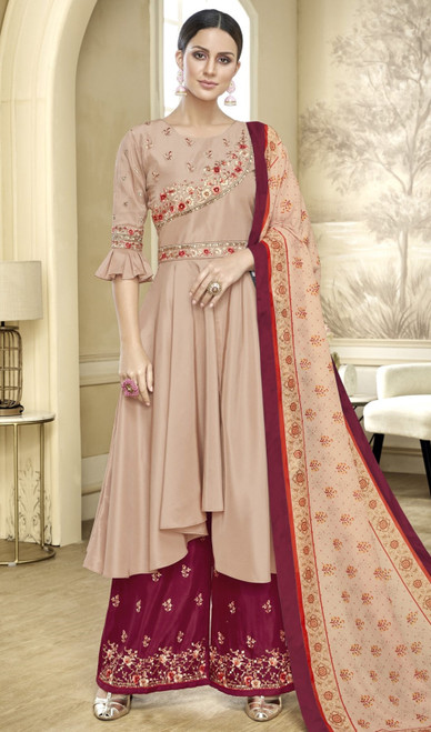Beige Color Embroidered Maslin Anarkali Style Palazzo Suit