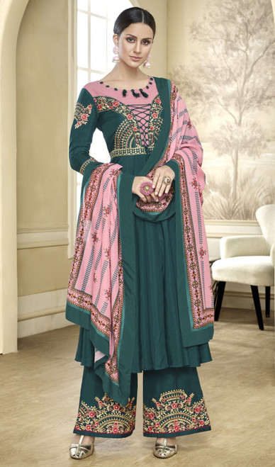 Green Color Maslin Embroidered Anarkali Style Palazzo Suit