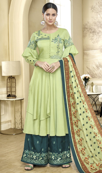 Lime Color Shaded Maslin Anarakli Style Palazzo Dress