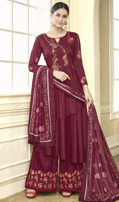 Maroon Color Shaded Maslin Anarkali Style Palazzo Dress