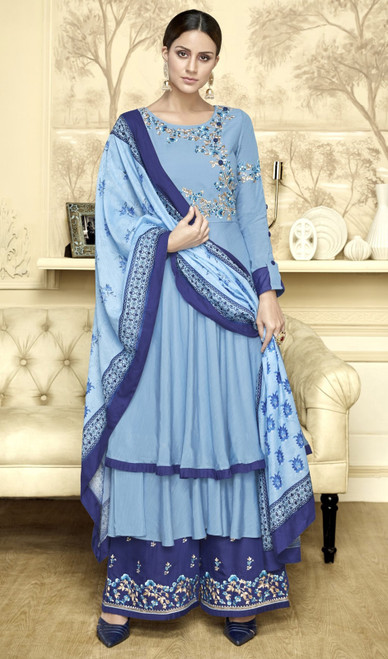 Anarkali Style Palazzo Suit in Sky Blue Color Shaded Maslin