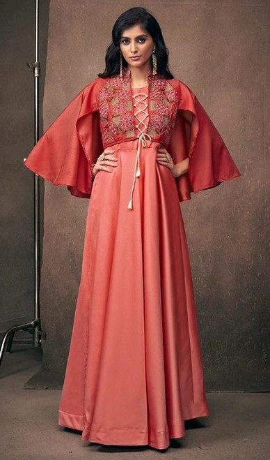 Peach Color Embroidered Satin Silk Gown