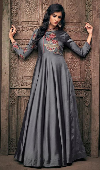 Gray Color Satin Silk Embroidered Gown