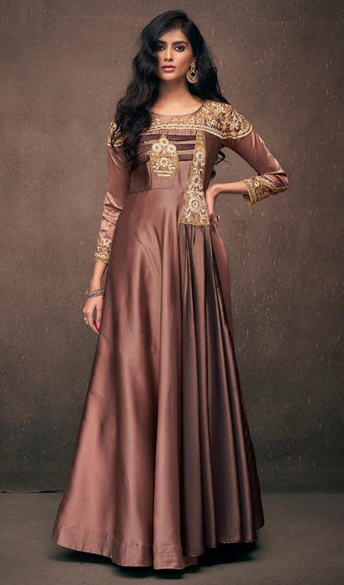 Tan Color Shaded Embroidered Satin Silk Gown