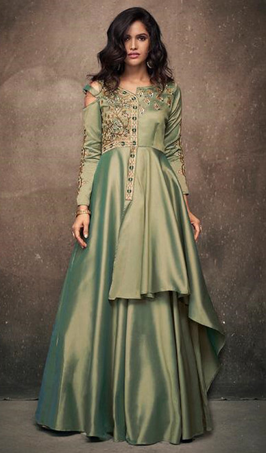 Evening Gown in Green Color Shaded Satin Silk