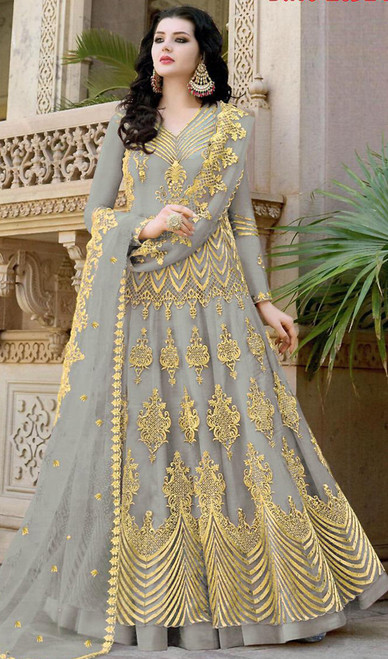Gray Color Net Embroidered Anarkali Dress