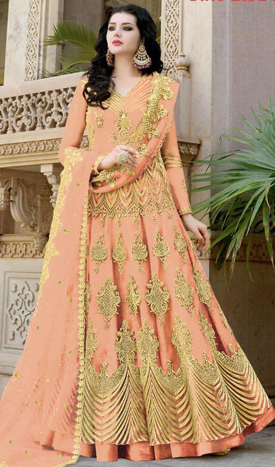 Peach Color Embroidered Net Anarkali Designer Suit