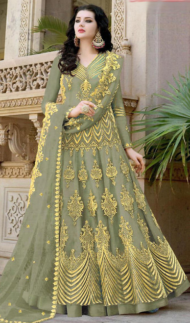 Green Color Stylish Net Embroidered Anarkali Dress