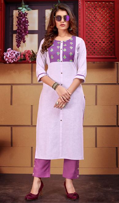 Purple Color Shaded Linen Tunic