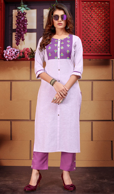 Purple Color Shaded Linen Tunic